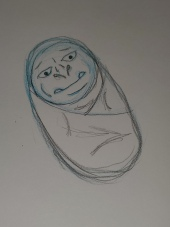 Baby: picture of a swaddled up orc baby with nubby tusks.